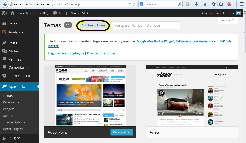 como instalar temas wordpress 3